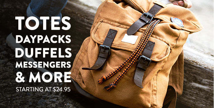 Totes, Daypacks, Messenger, Laptop and Duffle Bags - starting at 24.95