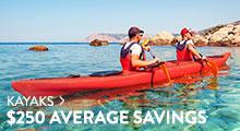 Kayaks - average savings $250