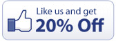 Like us on Facebook and get 20% OFF!