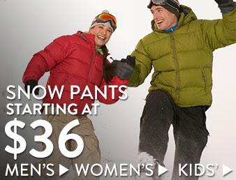 Snow pants - starting at $36