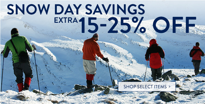 Snow Day Savings: extra 15-25% off select items
