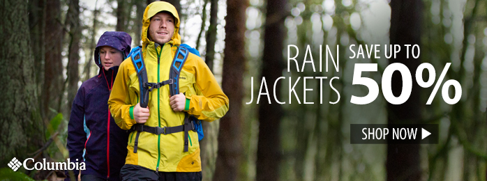 Save up to 50% on rain jackets
