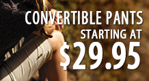 Convertible pants starting at $29.95