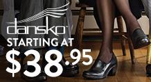 Dansko - starting at $38.95%