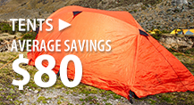 Tents – average savings $80