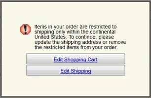 restricted item in cart