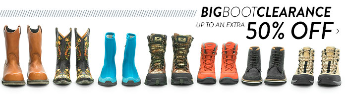 Big Boot Clearance - up to an extra 50%