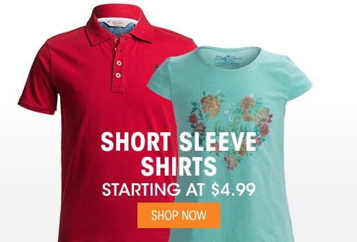 Short Sleeve Shirts - Starting at $4.99