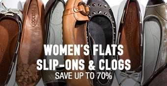 Clogs, Flats & Slip-Ons - save up to 70%